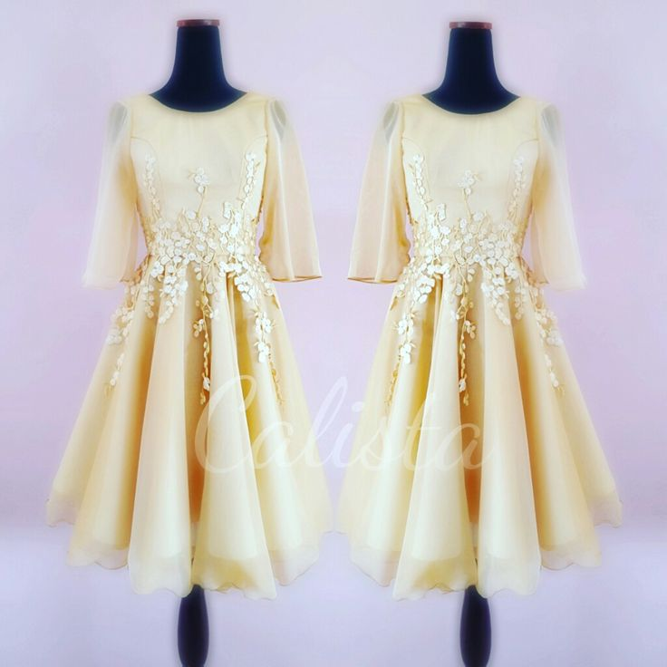 Gold dress  Effortless stunning with flower embroidery on waist line