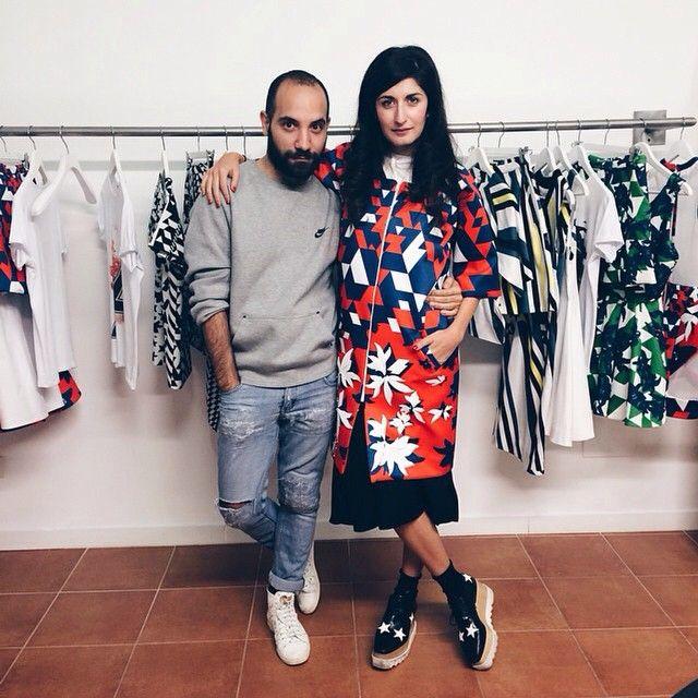 Designer Alessandro Biasi with fashion blogger Valentina Siragusa