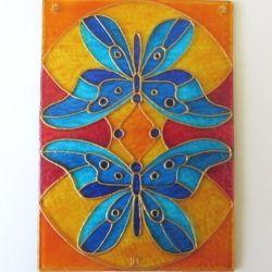 """Ručně malovaná vitráž - """"Motýlí Duet"""" (10x15 cm) Hand Painted Stained Glass"""