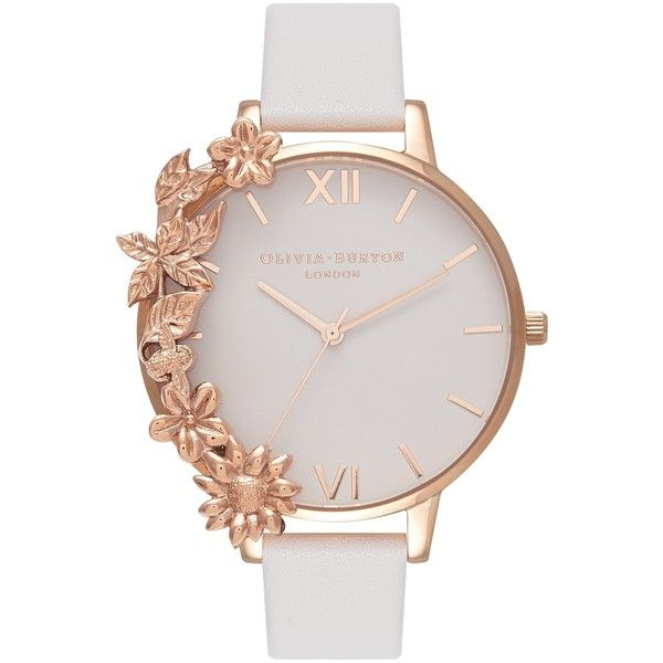 Olivia Burton Women's Case Cuffs Leather Strap Watch (505 PEN) ❤ liked on Polyvore featuring jewelry, watches, roman numeral watches, white dial watches, olivia burton watches, cuff watches and floral watches