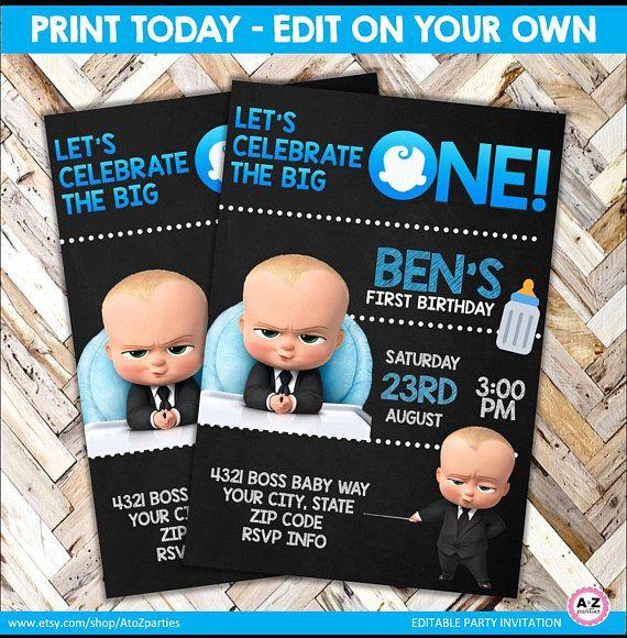 Boss Baby Invitation Boss Baby Editable Invite Print Today Chalkboard Baby First Birthday One Baby Birthday Invitations Baby Birthday Party Boy Boss Baby