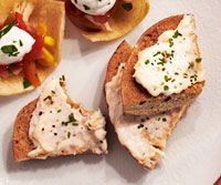 Multigrain bagel chips with smoked salmon mousse
