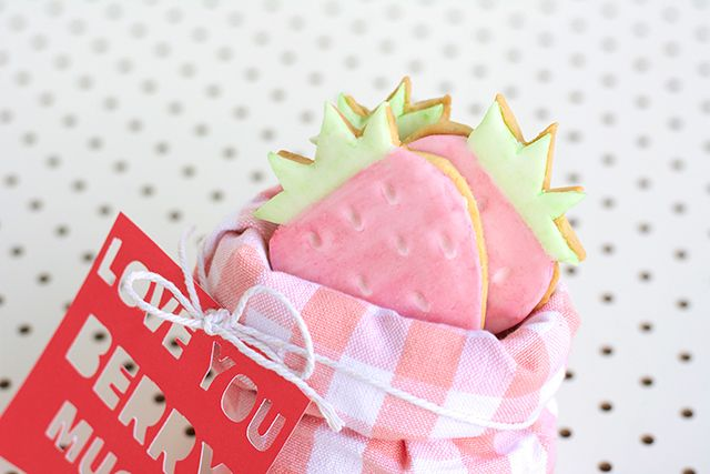 Love You Berry Much - Strawberry Cookie Gift for Valentines Day