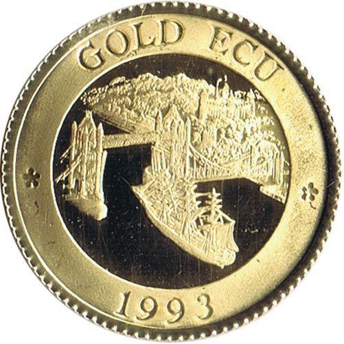 Moneda de oro Gold Ecu Gran Bretaña 1993 Tower Bridge. 4.3 gr.