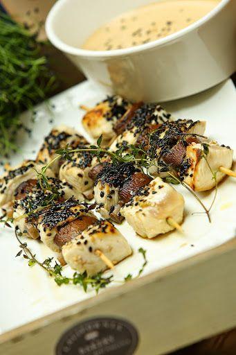 Cicken and mushrooms kebab