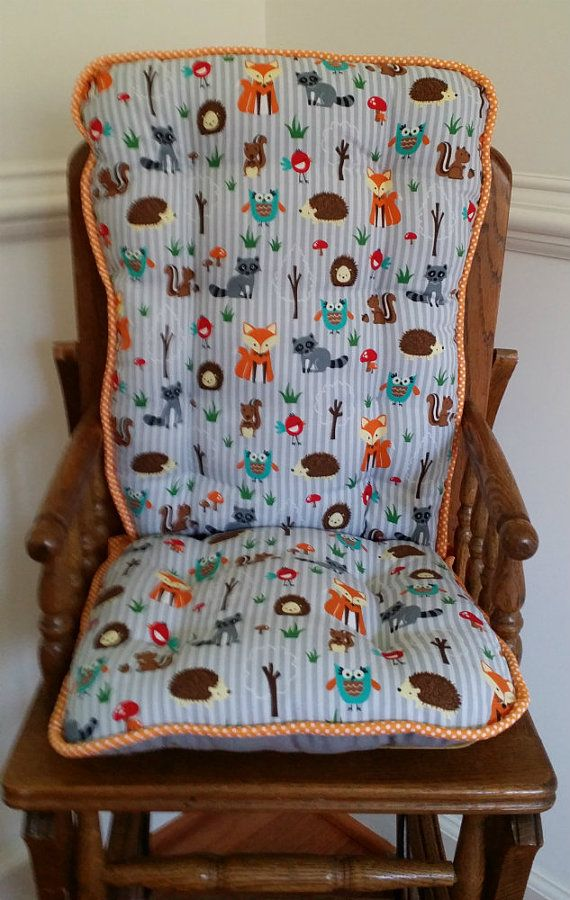 Charming Custom Fox U0026 Friends High Chair Cushions, Highcair Pads, Wooden High Chair  Covers, Woodland High Chair Pads, Fox Hedgehog Owls