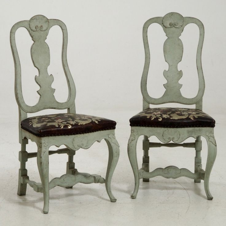 Pair of Scandinavian chairs, with original guilted leather, circa 100 years old.