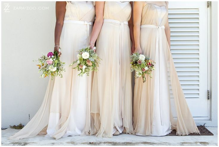 Lovely flowing champagne colored #bridesmaids #dresses by #abigailbetz.  See more of this #wedding on the #ZaraZoo blog http://www.zara-zoo.com/blog/wedding-at-rockhaven/