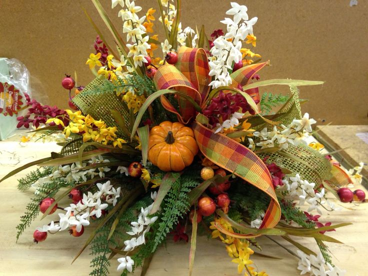 Fall centerpiece low and rounded style pinterest