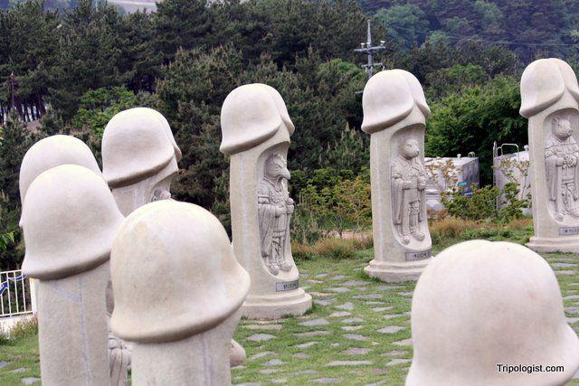 A group of zodiac-carved penises at Haesindong Penis Park near Samcheok, South Korea.