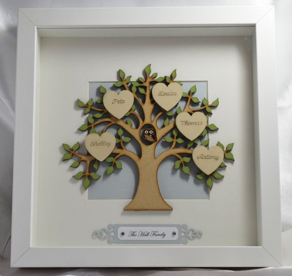 Family Tree Frame Handmade Personalised by LouisesCardsandGifts