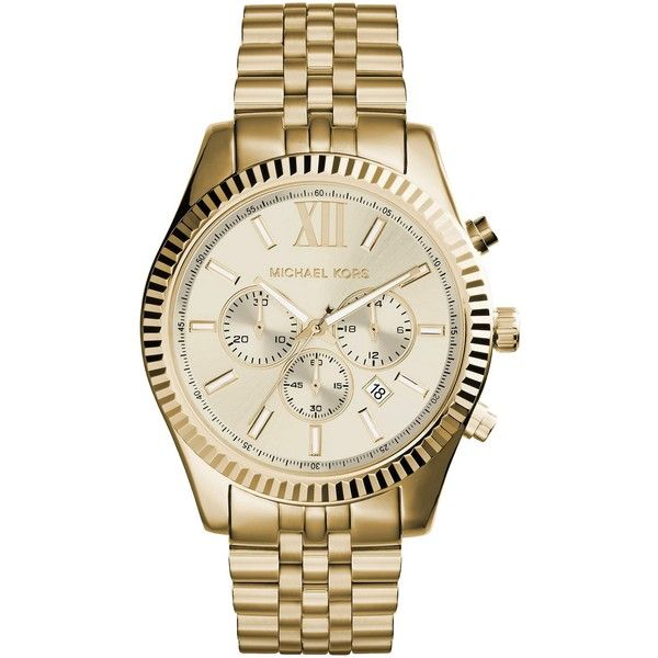 Michael Kors Wrist Watch ($371) ❤ liked on Polyvore featuring men's fashion, men's jewelry, men's watches, gold, michael kors mens watches and mens stainless steel watches