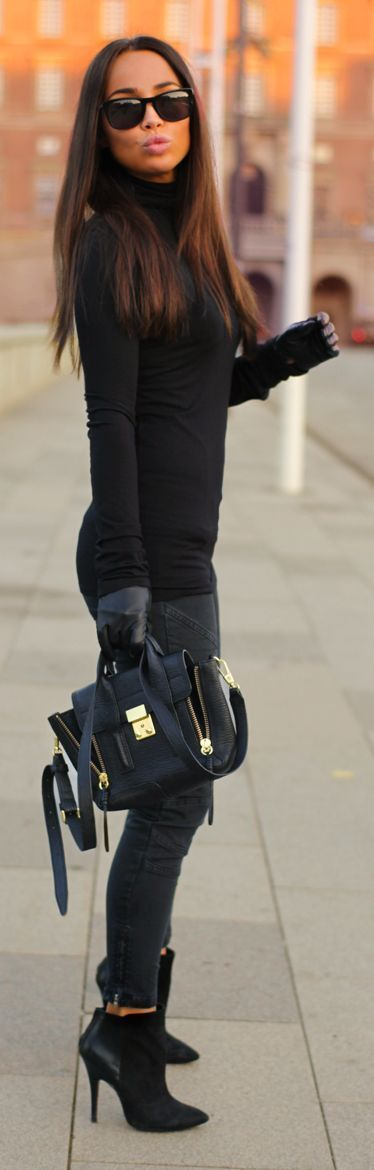 Classic Black Chic // Black Suede And Leather Booties -- 50 Cute Winter - Spring Outfits @styleestate