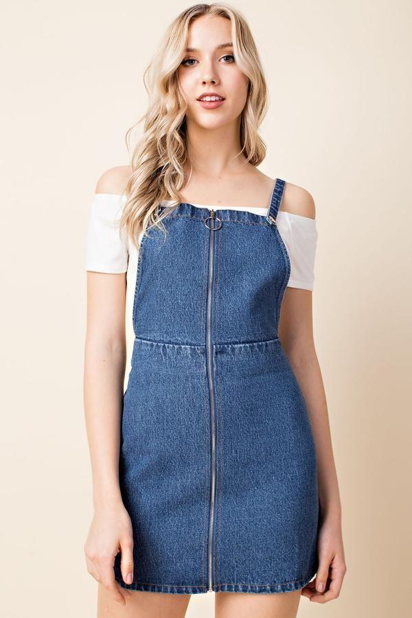 bb2612fe84e Zip Up Overall Dress, Denim | Fun Flirty Dresses in 2019 | Denim ...