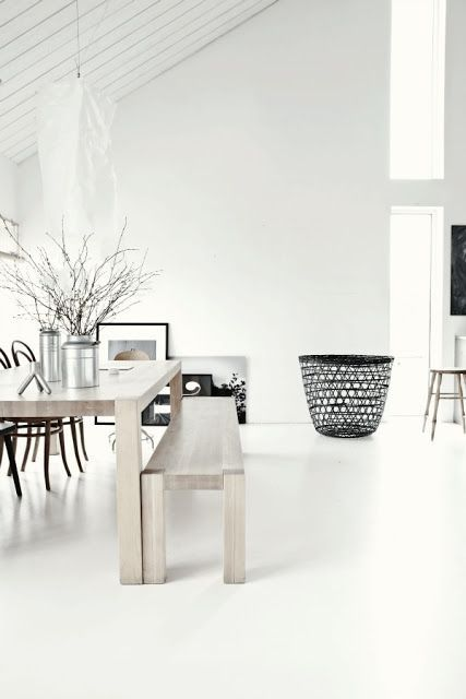 wood bench, white floors