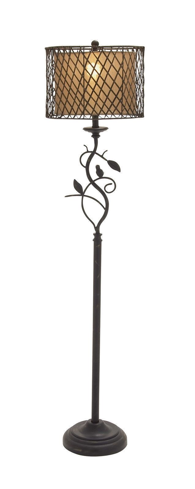 """61"""" Tall Floor Lamp Stand Open Netting Rattan Weave Paris French Style Bird Tree"""