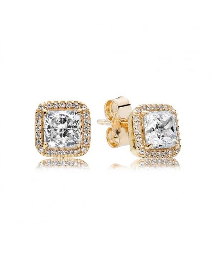 6dff8b401 Pandora Gold Timeless Elegance Earrings 250327CZ Sale   Pandora Gold ...