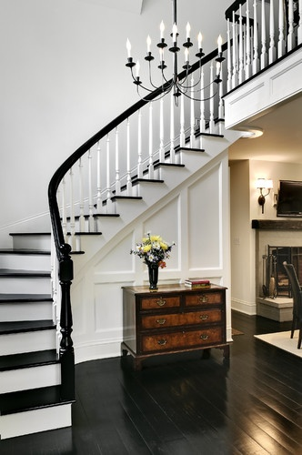 I like the black railing with white spindles