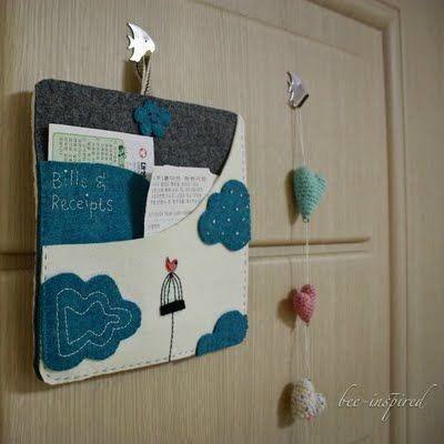 Let's get organized...: Paper Clutter, Felt Projects, Gifts Ideas, Bees Inspiration, Felt Crafts, Cute Ideas, Felt Boards, Organizations Bill, Organizations Boards