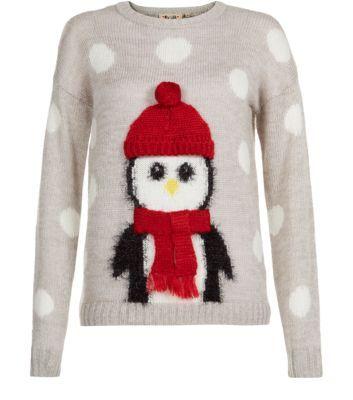 Grey Penguin Christmas Jumper