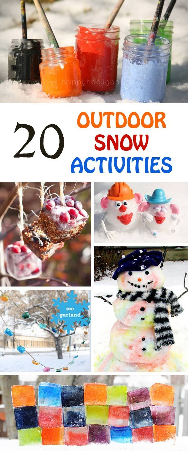 20 fun outdoor snow activities for kids. Be prepared for that snowy day when school is off and kids want to go outside and play. This list of snow and ice activities for kids of all ages is just what you need for any winter day. #winteractivities