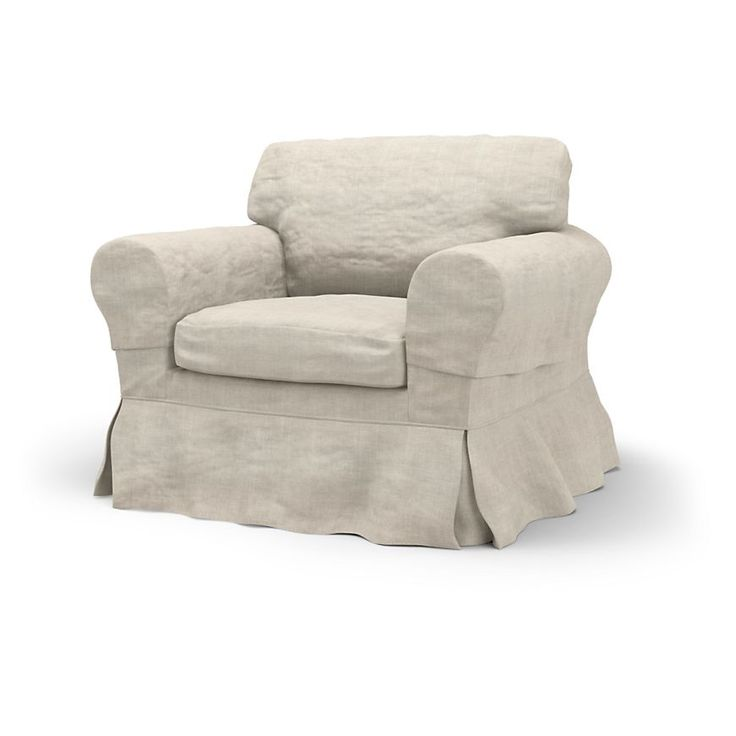 Ektorp, Armchair Covers, Armchair, Loose Fit Country using the fabric Rosendal Pure Washed Linen Absolute White