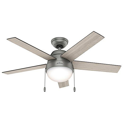 """Hunter 59267 Contemporary Anslee Matte Silver Ceiling Fan With Light, 46""""    Craftmade Fans  Hunter Ceiling Fan Parts  Harbor Breeze Ceiling Fan Parts  Ceiling Vents  Ceiling Fan Reviews  Hunter Douglas Ceiling Fans  Low Profile Ceiling Fan With Light  Ceiling Fan Repair  Fanimation Ceiling Fans  Quiet Ceiling Fans  Mini Ceiling Fan"""
