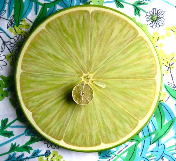 Lime Slice Lazy Susan 15 Wood Turntable Centerpiece by JaneSuzanne, $120.00