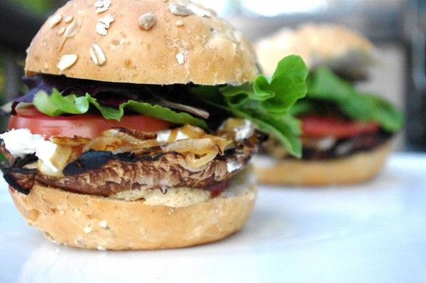 Portobello Mushroom & Caramelized Onion Burgers