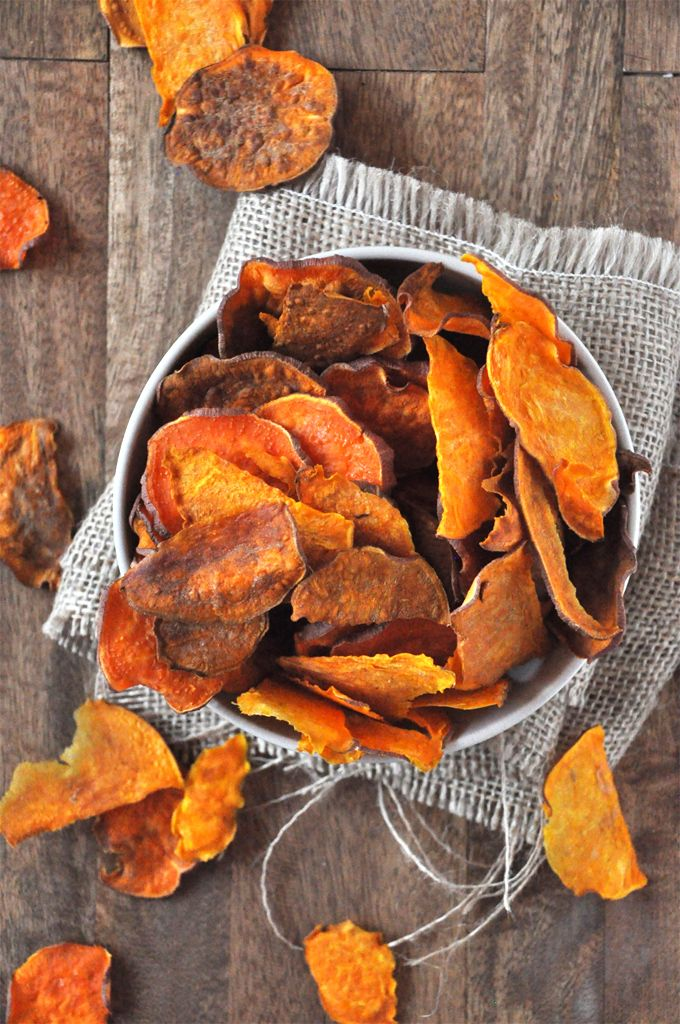 Baked Sweet Potato Chips - the minimalist baker These are good seasoned with the maple and herb rub that Pampered Chef sells.