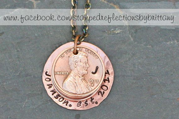 Penny necklace - Panny - Hand Stamped Penny - Engraved Penny