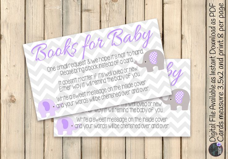 Purple Grey Elephant Baby Shower Book Request Card, Elephant Shower Books Request Insert, Build Baby Library Request, Diaper Raffle, DIGITAL by SquishyDesignsbyMe on Etsy