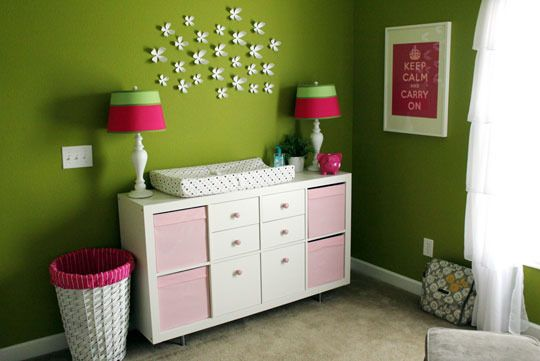 green and pink nursery.