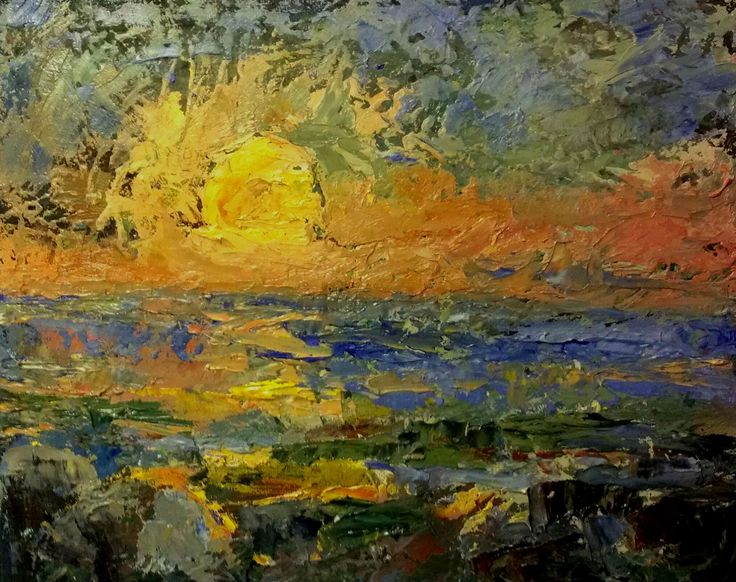 Sunset  oil on canvas  2012 Today`s eye in silent variety. Like a breath of courage.