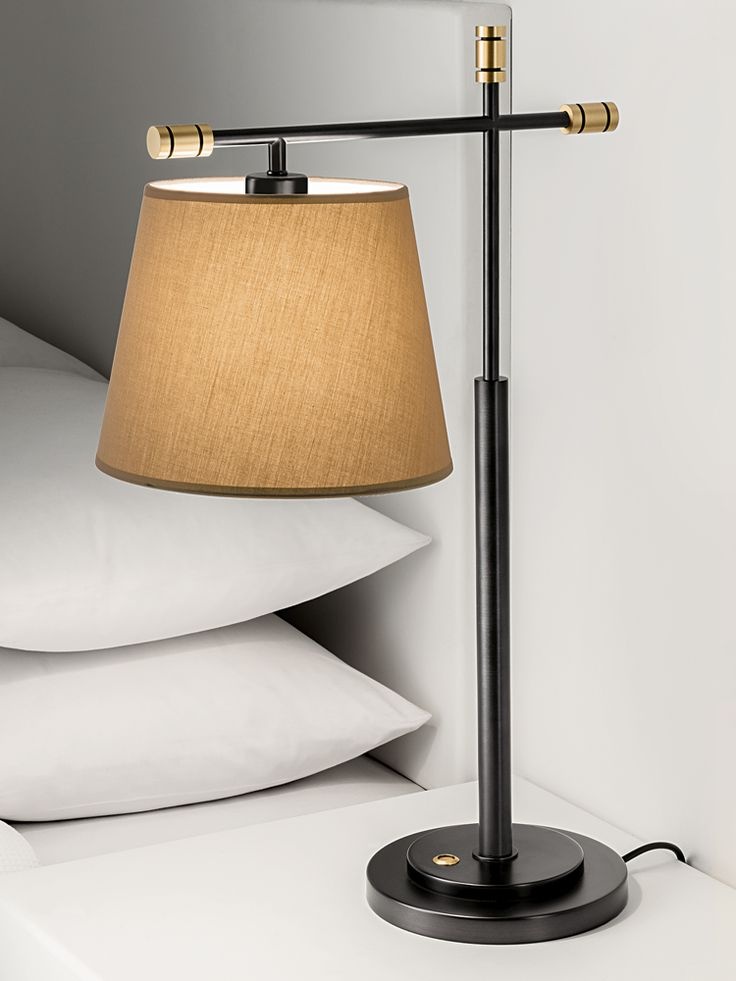 Chelsom boston table lamp in black bronze with english brass