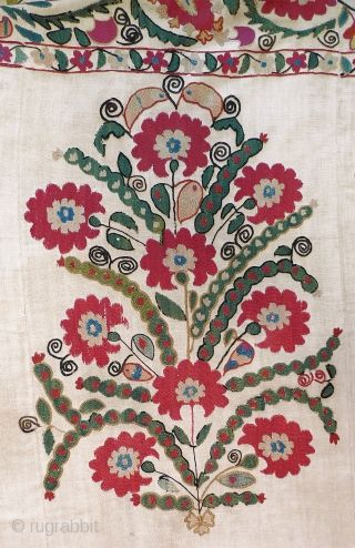 """Ura Tube Suzani. 6' x 5'5. Early to mid-19th century. Very fine silk couching and chain stitch in 18 shades of natural dyes. Five joined panels of handwoven cotton ground cloth (""""karbos""""). ..."""