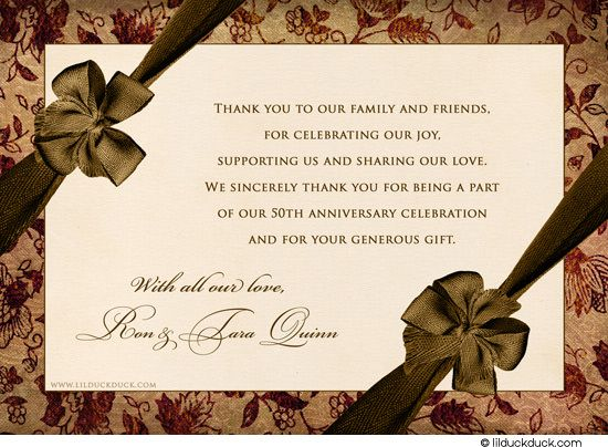 Wedding Anniversary Card Messages Popular Cardstock Back With Preprinted Thank You Message Option