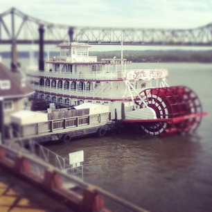 Spirit of Peoria paddleboat on the riverfront in Peoria, Illinois. Right across the river from East Peoria