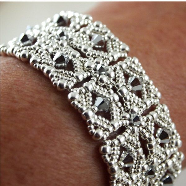Silver Beadwoven Bracelet with Swarovski by ChainedByLightness