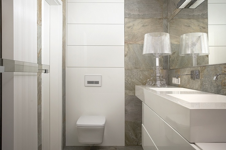 modern bathroom with natural stone and bespoke furniture by n-design.pl
