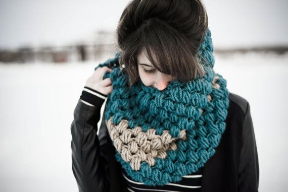 Oversized Puff Stitch Turquoise Beige Striped Cowl by knitbrooks
