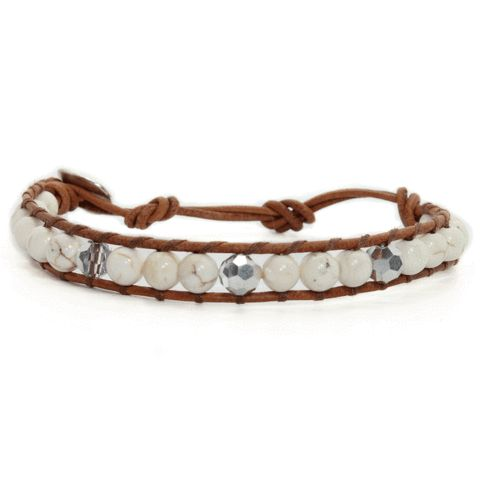 Howlite + Silver + Brown Natural Leather