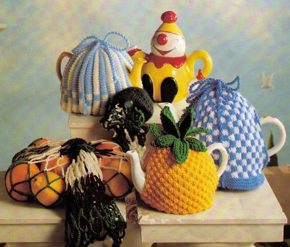 VINTAGe 1960s TeAPOT COSIeS SeT Of 3 LOVELy STLYeS PINEAPPLE & FaIR ISLe -Great For GifT-MiXeD TeAPOTS 8 PLY - Knitting PDF Instant Pattern
