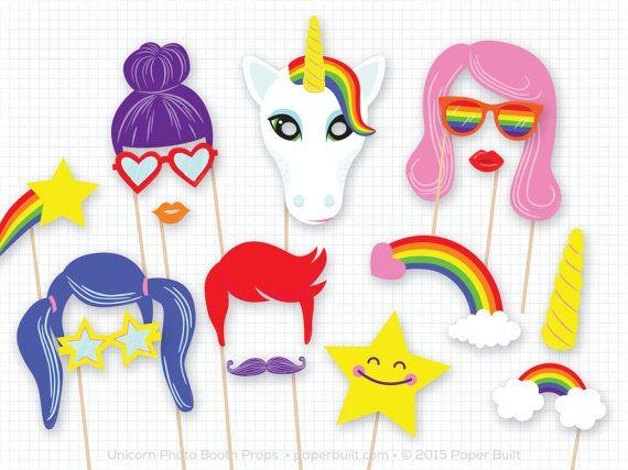 Licorne fête, Photo Booth Props, licorne d'anniversaire, les accessoires Photobooth, licorne Photo Prop, couleurs de l'arc-en-ciel, Shower de bébé Licorne, magique, étoile