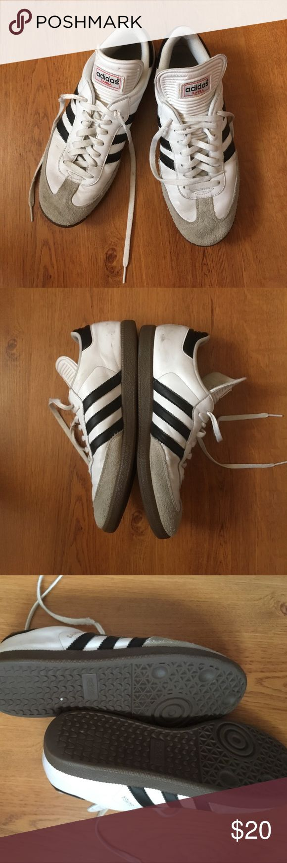 Mens Adidas Samba tennis shoe This classic style adidas samba tennis shoes are perfect for casual days! Can be worn for athletics or for leisure. Minor signs of wear and tear, the shoe laces might want to be replaced. adidas Shoes Sneakers
