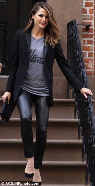 Keri Russell leaves New York City home wearing destination on T-shirt