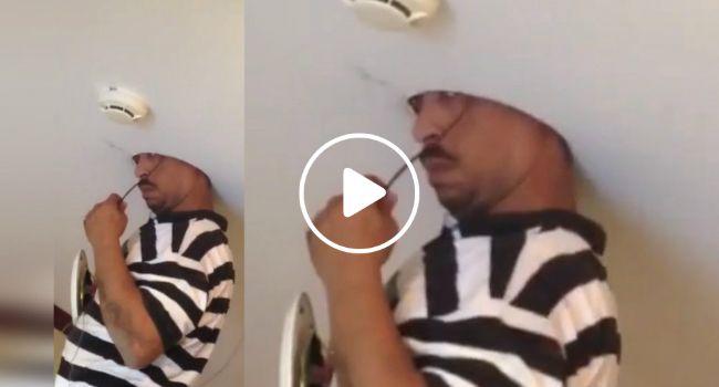 Eletricista Fica Com a Cabeça Presa No Teto Durante Instalação De Coluna De som