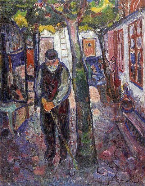 Old Man In Warner understand,  1907, by   Edvard Munch