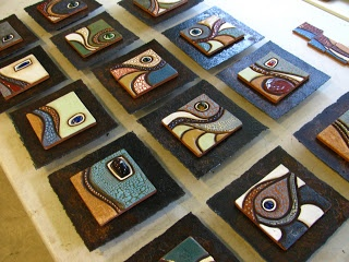 Meagan Chaney Gumpert - Studio Artist: Glass - Kiln Casting and Slumping. Glass slumped into clay tiles....