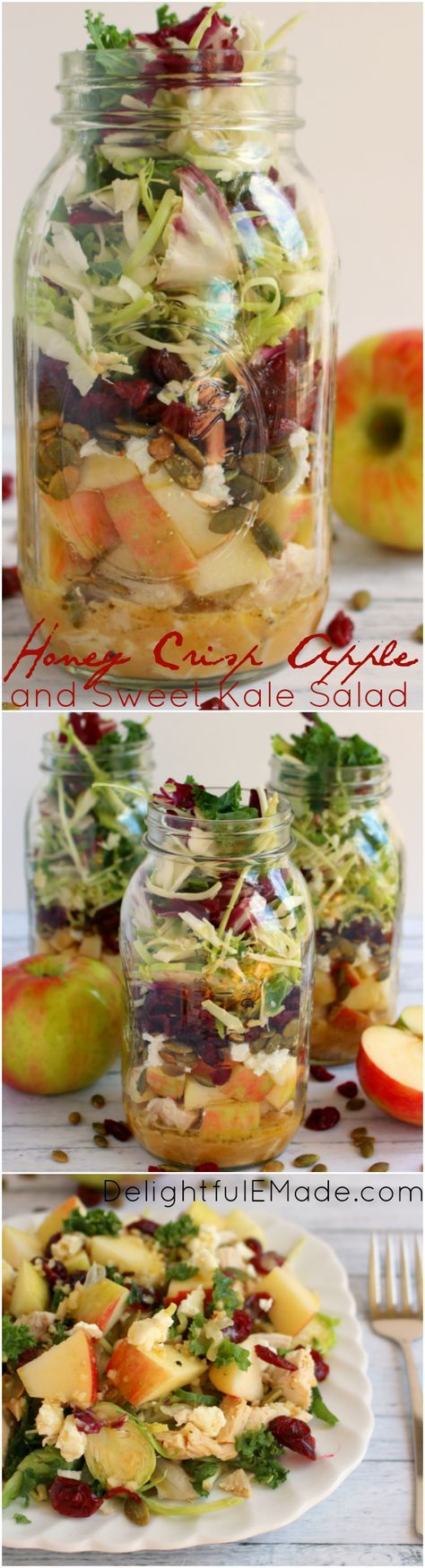 How about a healthy, easy delicious lunch idea? My Honey Crisp Apple & Sweet Kale Salad with Apple Cider Vinaigrette is the perfect lunch solution! Assembled in mason jars, these salads stay fresh and crisp for the perfect make-head lunch! #ad #EatSmartVeggies @EatSmartVeggies